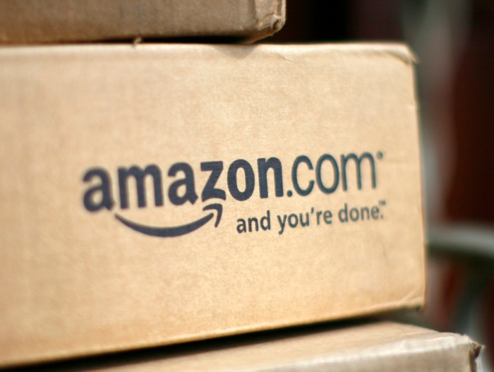 File of a box from Amazon.com is pictured on the porch of a house in Golden, Colorado